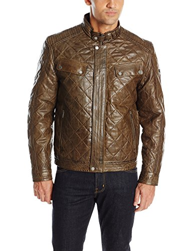 Boston Harbour Vintage Men's Diamond Quilt Distressed Jacket with Chest Pockets, Olive, XX-Large
