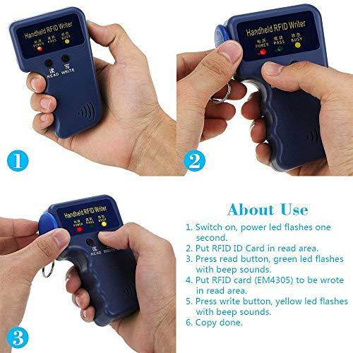 Windfally RFID Reader Writer,RFID Copier,RFID Cloning Handheld RFID Card Copier Duplicator for Door Access Control with 1 RFID Reader Writer +6pcs Writable EM4305 ID Cards +6pcs Writable EM4305 ID Ta by Windfally (Image #5)