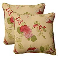 Pillow Perfect Indoor/Outdoor Risa Corded Throw Pillow, 18.5-Inch, Lemonade, Set of 2 from Pillow Perfect