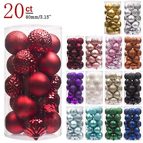 "KI Store 20ct Christmas Ball Ornaments Shatterproof Christmas Decorations Large Tree Balls for Holiday Wedding Party Decoration, Tree Ornaments Hooks Included 3.15"" (80mm -"