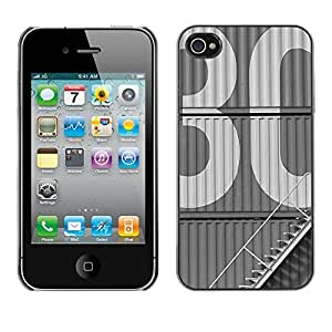 Colorful Printed Hard Protective Back Case Cover Shell Skin for Apple iPhone 4 / iPhone 4S / 4S ( 30 Vintage Retro Studio Building White )