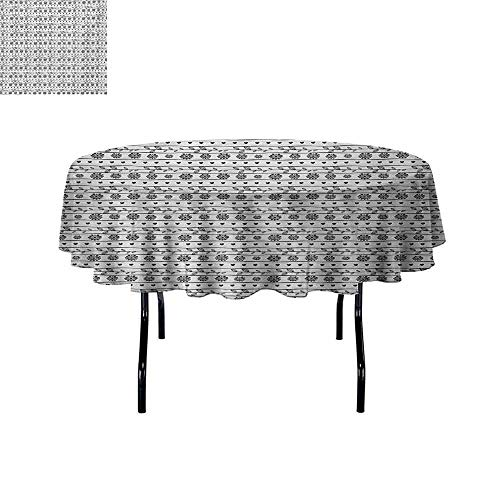 (GloriaJohnson Romantic+Easy+to+Care+for+Leakproof+and+Durable+Round+tablecloths+Horizontal+Art+Borders+with+Ornate+Flower+Figures+Leaves+and+Little+Hearts+Outdoor+Picnic+D47.2+Inch+Black+and+White+)