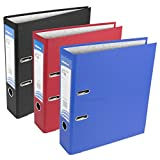 3 x Strong A4 Polypropylene Lever Arch Files Large Office Paper Storage Folders [BLACK RED BLUE MIX]