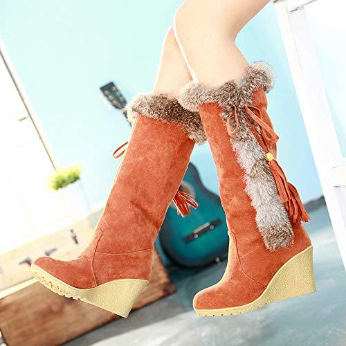 Chaudes Sunnywill Neige Bottes De Loisir À Orange Bouts chaussures Tassel Ronds Femme xqHZpF