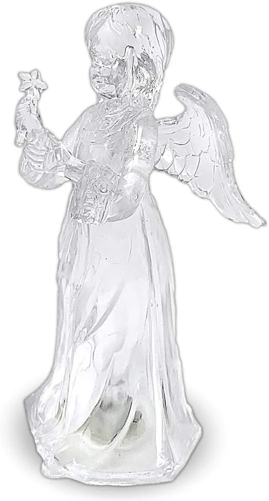 BANBERRY DESIGNS Light Up Christmas Angel - LED Color Changing Lights Acrylic Angel Statue Holding a Star - Angel Figurines