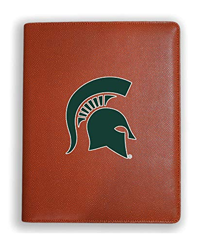 Zumer Sport Michigan State Spartans Basketball Leather Portfolio Padfolio Notebook Planner Pad - Made from Actual Basketball Materials - Orange