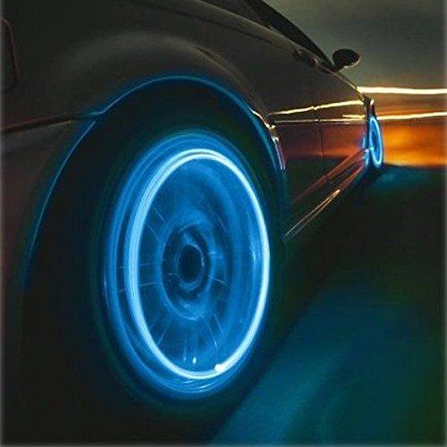 4x Vehicle Non-Flashing Tire Valve Stem Caps LED Lights 4-Piece Kit (Blue)