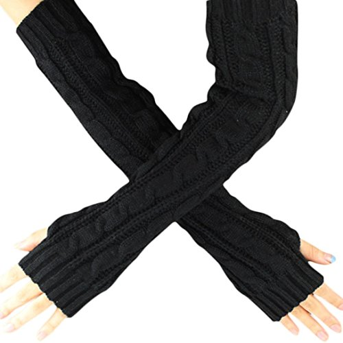 Long Knitted Gloves,Hemlock Fingerless Lady's Woolen Yarn Dress Gloves Mitten (Black)