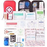 Kompakt Erste Hilfe Set mit 175 Teilen Harte Tasche- Mini First Aid Kit - Wasserdichte Medizinische Notfalltasche für Auto, Zuhause, Büro, Camping, Arbeitsplatz, Wandern, Jagd und Abenteuer