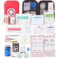 Botiquín de Primeros Auxilios de 204 artículos, Survival Tools Mini Box - Bolsa Médica para Emergencias al Aire Libre para Emergencias en El Hogar Lugar de Trabajo para Acampar en El Auto Senderismo Hunting Aventuras