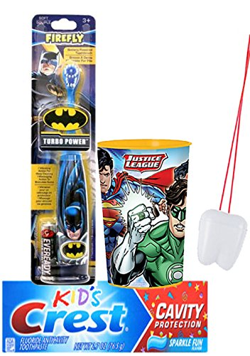 """Justice League 3pc. Bright Smile Oral Hygiene Set! Batman Turbo Powered Toothbrush, Crest Kids Cavity Protection Sparkle Fun Toothpaste & Mouthwash Rise Cup! Plus Bonus """"Remember to Brush"""" Visual Aid!"""
