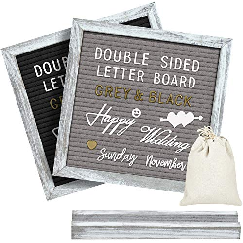 Double Sided Letter Board with 750 Precut White & Gold Letters,Months & Days & Extra Cursive Words, Wall & Tabletop Display, Letter Bags, Scissors (Farmhouse Rustic 10x10)
