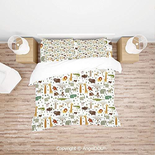 PUTIEN Modern Cotton Bedding 4 Pieces Set Duvet Cover Set,Grunge African Savannah Fauna Childhood Theme Safari Funny Wildlife Pattern Decorative,with Hidden Zipper Closure.