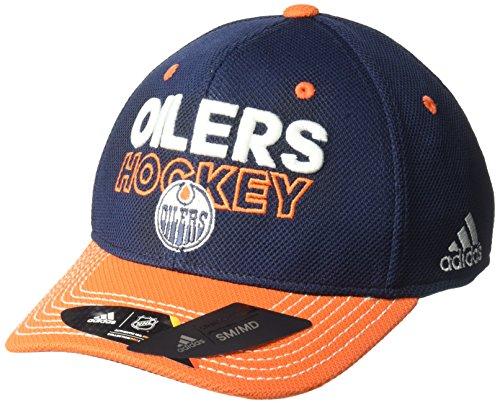 Men Headwear Apparel (adidas NHL Edmonton Oilers Adult Men Pro Authentic Locker Room Structured Flex, Small/Medium, Navy)