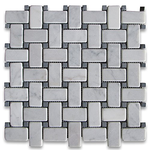 Carrara White Italian Carrera Marble Basketweave Mosaic Tile Black Dots 1 x 2 Tumbled (Flooring Tile Mosaic Bianco)