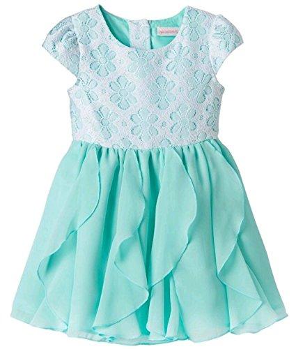 (Youngland Toddler Girls Crochet Lace Bodice Chiffon Ruffle Dress, Aqua (3T))