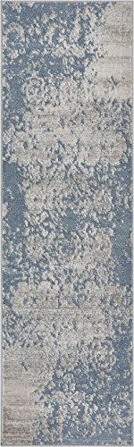 Well Woven PE-64-2 Pearl Ora Modern Vintage Distressed Blue Soft Rug 2'3