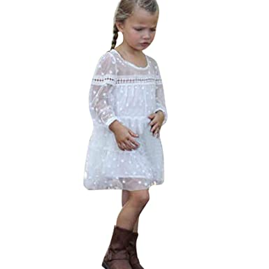 59feacb3db Amazon.com: Baby Girls Toddler Kids Dresses Long Sleeve Chiffon Tulle Mini  Party Dress Clothes: Clothing
