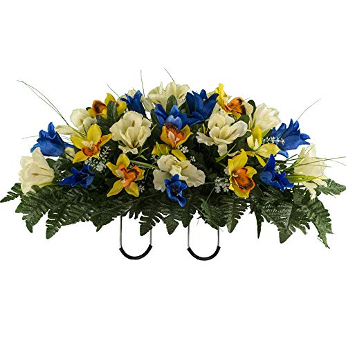 Sympathy Silks Artificial Cemetery Flowers - Realistic Vibrant Tulips, Outdoor Grave Decorations - Non-Bleed Colors, and Easy Fit - Blue Yellow Tulip - Stone Flower