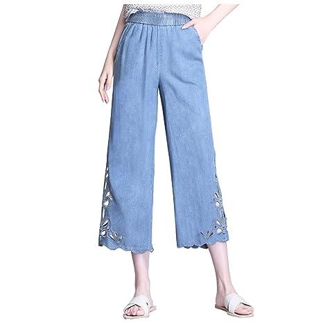 Zhounan Pantalones Vaqueros de Pierna Ancha Tencel Nueva ...