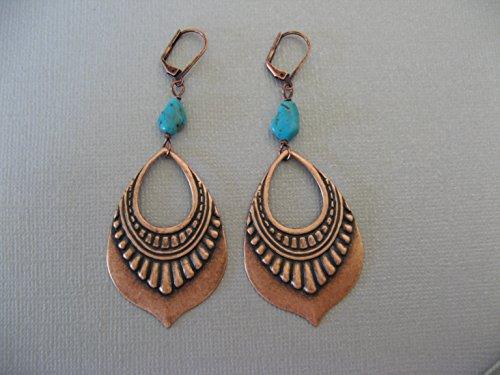 turquoise-nugget-copper-plated-earrings-dangling-ornamental-drop-boho-artisan-jewelry