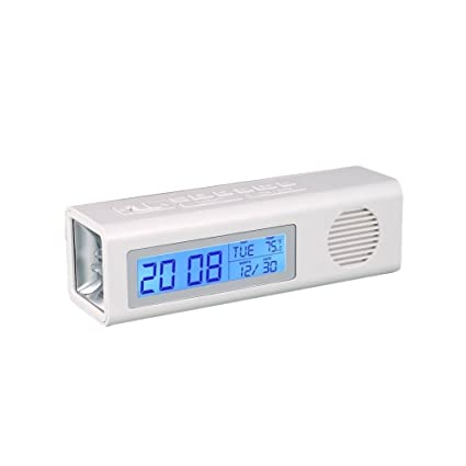 Rural Mart 3 in 1 Table Clock Fm and Torch with Dual Power Option for Office Home Living Bedroom (White)