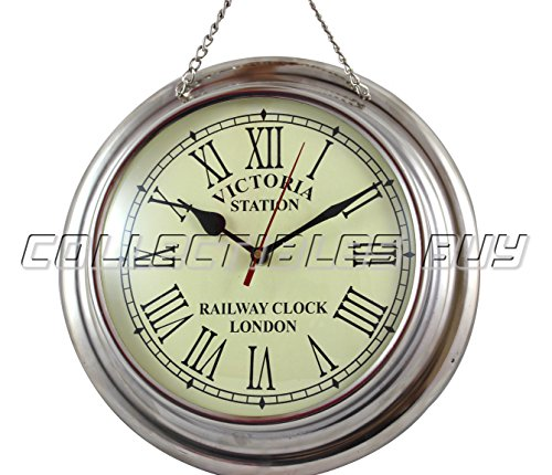 Collectibles Buy Home Decorative Small Wall Clock Nickel Finish Marine Royal Replica Antique Gifts