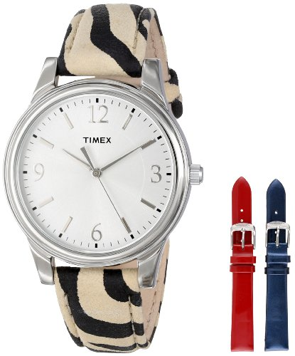 - Timex Women's UG0103TB Zebra Patterned Leather Strap Watch Set