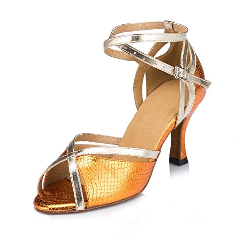 Ballroom EU42 Heel Salsa Chunky Tango UK7 Ankle De Strappy De Suede 5 Sandals Buckle Mode DQuietness Orange Danse Cow Leather Latine Womens Femmes Chaussures Our43 Danse IqcSxtCwa