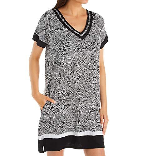 Donna Karan Sleepwear Elemental Sleepshirt (D336962) 1X/Black Print
