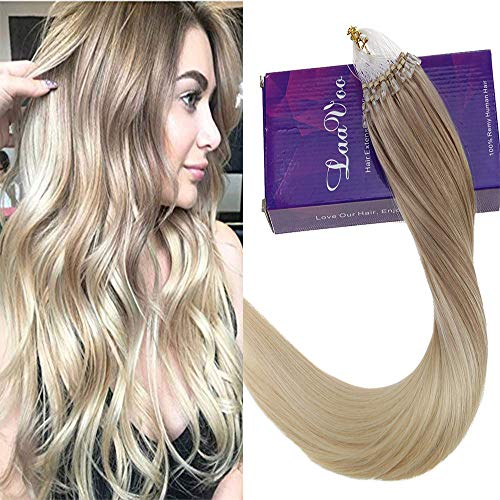 LaaVoo 18inch 50g/50s Micro Link Loops Rings Real Human Hair Extensions Balayage Ombre Color Ash Blonde to Platinum Blonde Silky Straight Long Hair Extensions ()