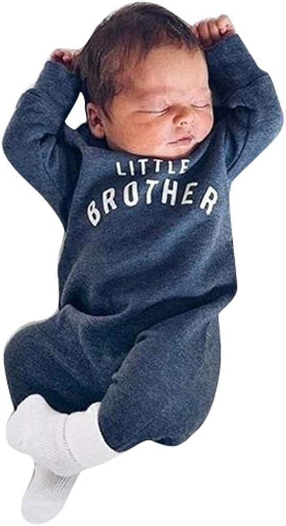 Boys Clothes SHOBDW Newborn Infant Boy Girl Button Romper Baby Long Sleeve Letter Little Brother Jumpsuit Pattern Playsuit Romper 6-9 Months