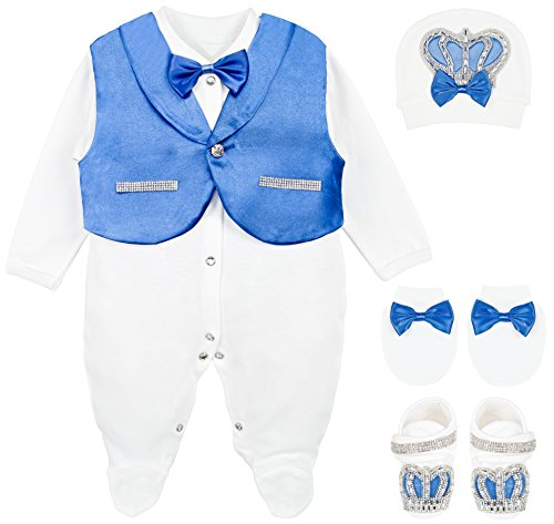 (Lilax Baby Boy Jewels Crown Tuxedo Outfit Layette 5 Piece Gift Set 0-3 Months Royal Blue )