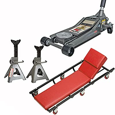 3 Ton Low Profile Floor Jack With Lift Stands And Mechanic Creeper Seat Stool - Shop Tools