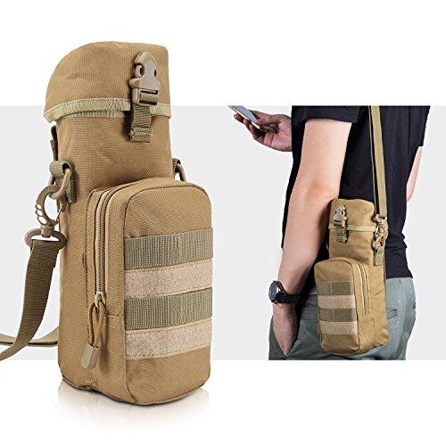 Bottle Holder Khaki - Tactical Bag,Bienna Military Water Bottle Bag w/Small Pocket & Adjustable Shoulder Strap [Thermal Insulation][Waterproof] Nylon Molle Gear Zipper Waist Pouch Holder Outdoors Travel for Men Women-Khaki