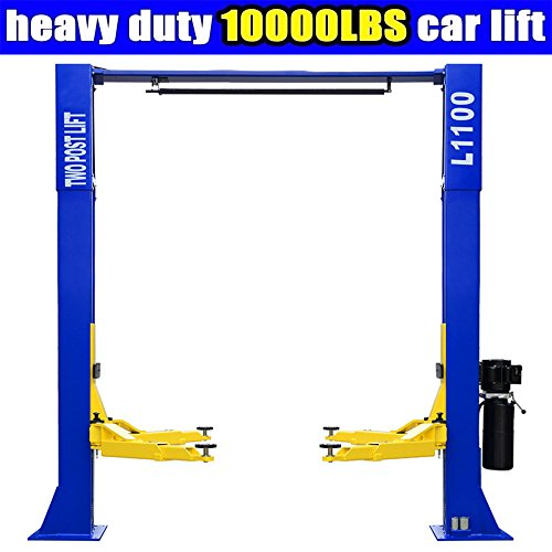 Post Lift (L1100 Car Lift 10,000lbs 2 Post Lift Car Auto Truck Hoist w/ Overhead Sensor Bar 220Volt)