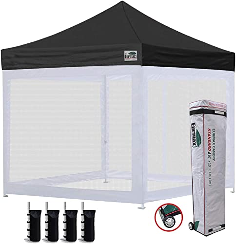 Eurmax 10×10 Ez Pop up Canopy Screen Houses Shelter Commercial Tent with Mesh Walls and Roller Bag,Bouns 4 Sandbags Weight Black
