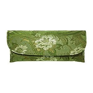 Lovely Asian Silk Brocade Style Semi-Hard Eyeglass Case Front Closure Sage Green