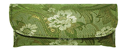 Lovely Asian Silk Brocade Style Semi-Hard Eyeglass Case Front Closure Sage - Eyeglasses Feminine