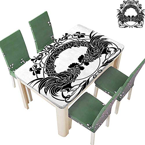 Printsonne Decorative Tablecloth Two Cocks Fighting Cockerel Arch Symmetry for Dining Room and Party 50 x 72 Inch (Elastic Edge) ()