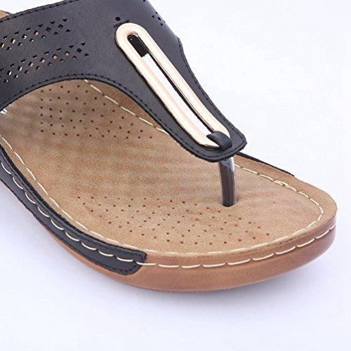 Toe Plate Wedge Chausson Tongs Diapositive forme Peep Sandale Sandales Slip Confort Noir Femmes Jrenok Eq8II