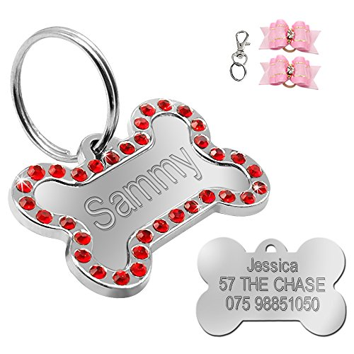 Didog Rhinestone Custom Pet ID Tags, Bone Shape,Free Engraved and Gifts, Bone Shape,Red