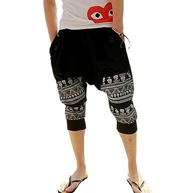 Minetom Homme Casual Star Printing Pantalon de sport Hiphop Baggy Jogging  Sarouel Pantalon ( Noir EU 31f249aa2b1