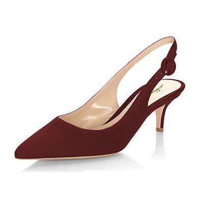 e8d17fd6e914 NJPU Women Pointed Toe Slingback Low Heels Pumps Faux Suede Kitten Sandals  Dress Shoes Dark Red