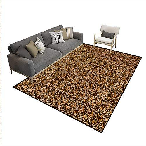 Carpet,Tiger Skin Stripes Warm Toned Background Motifs from African Culture,Print Area Rug,Orange Black,5'x8'