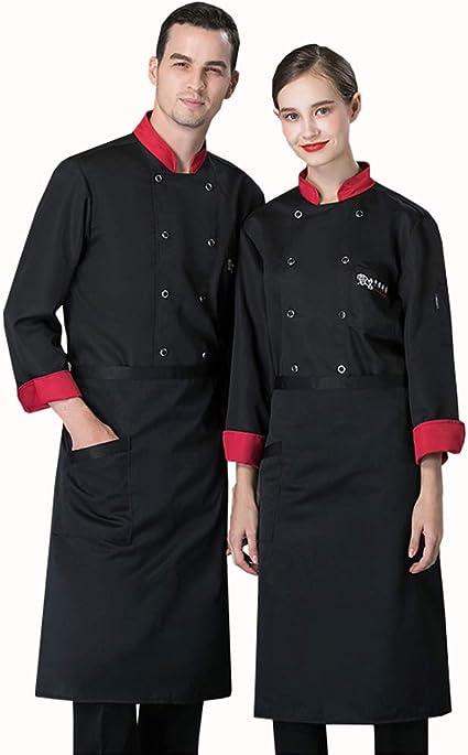 WXYC Casaca Cocina Uniforme Restaurante De Chef Cocinero Bar Restaurante Mangas Largas Algodón poliéster cómodo Adecuado para panaderías de restaurantes de hoteles,Negro,L: Amazon.es: Hogar