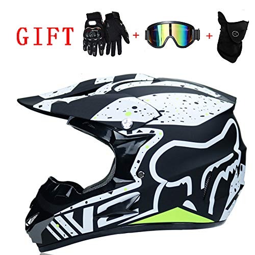 AA100 Motocross Helmet, Youth Off-Road Helmet, Gloves Goggles mask D.O.T Standard Children's Quad Bike ATV Kart Helmet (S, M, L, XL),L