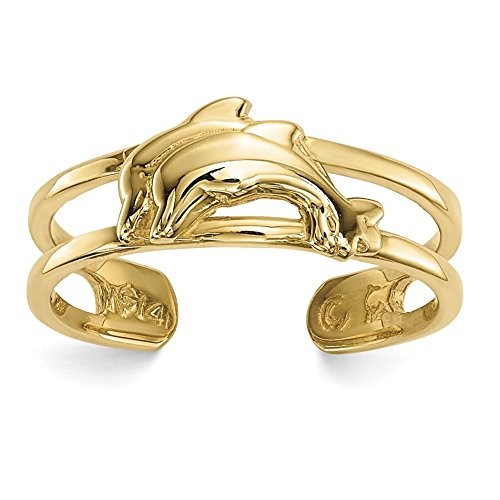 Lex & Lu 14k Yellow Gold Dolphins Toe Ring