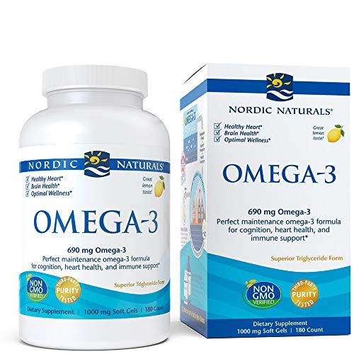 Lemon Nordic Woman Omega Naturals - Nordic Naturals - Omega-3, Cognition, Heart Health, and Immune Support, 180 Soft Gels