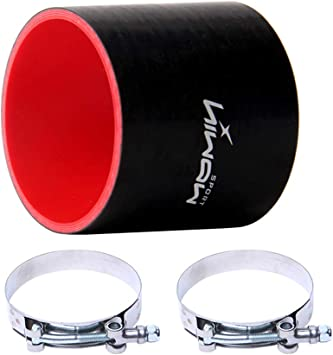 Hiwowsport 3'' Length Straight Silicone 4-Ply Coupler Silicone Hose Black+Red Color with T-Bolt Clamp Inner Diameter (4